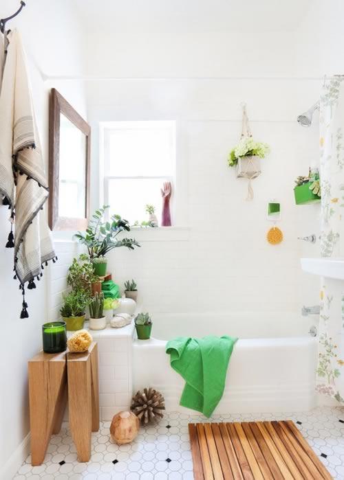Idées pour décorer avec des plantes: la salle de bain