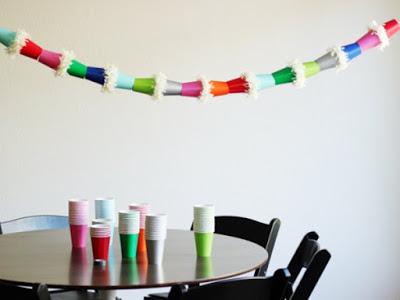 gobelets en papier guirlandes
