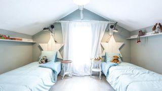 Chambre d'enfant double avec tête de lit étoile