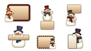 Étiquettes de style bonhomme de neige