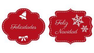 Étiquettes de Noël en rouge et blanc