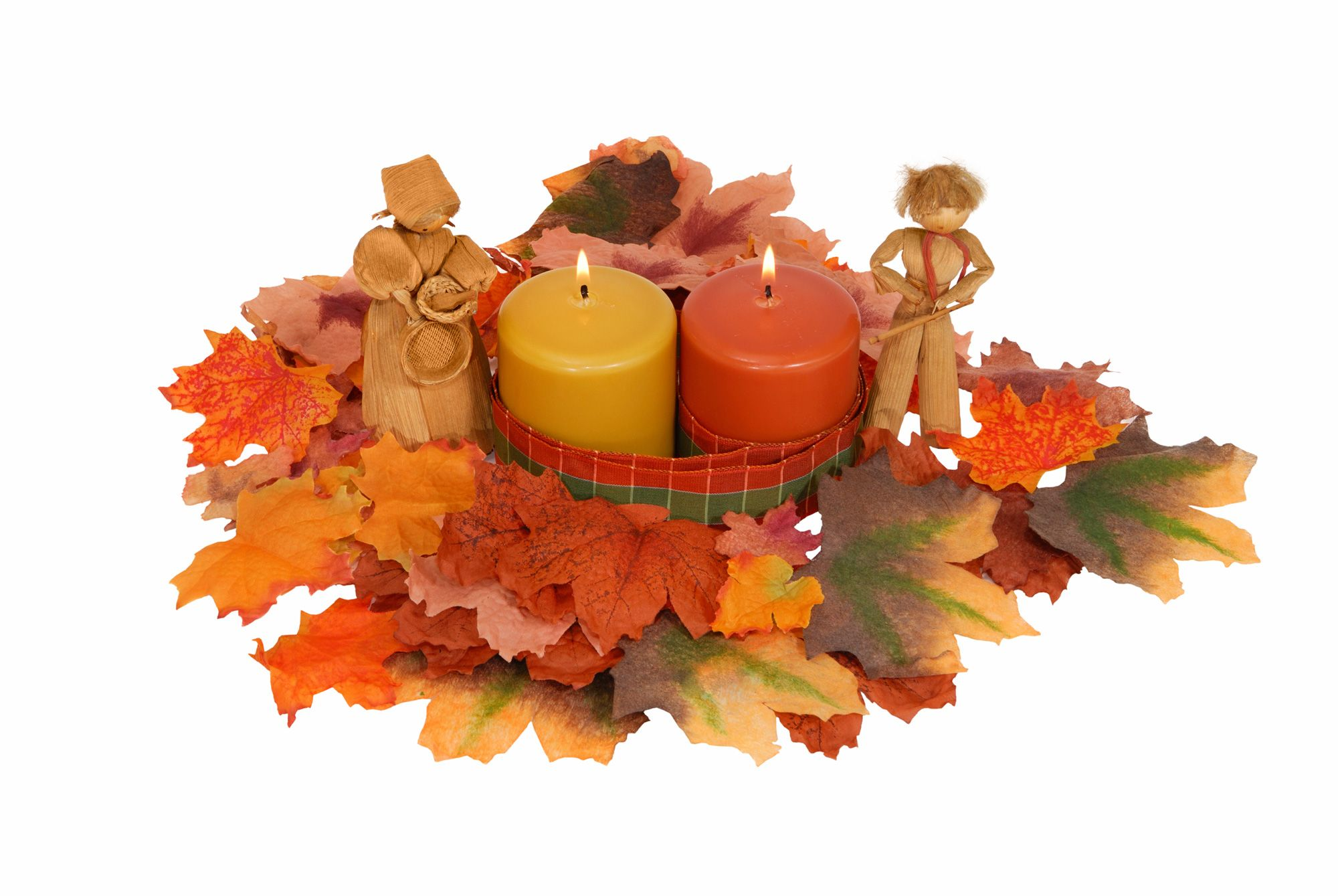 Décoration d'automne avec des bougies