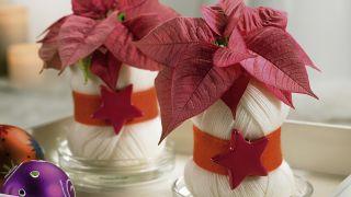 Vase de Noël avec écheveau de laine recyclée