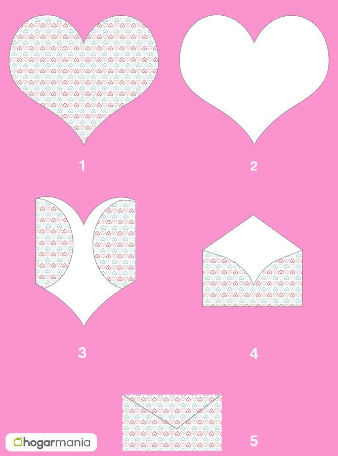 Faire une enveloppe avec un cœur pour la Saint-Valentin - étape par étape