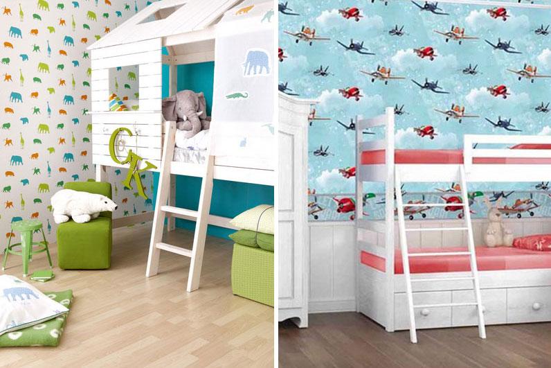 lits superposés enfants papier peint