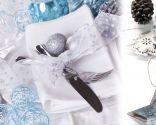 Décoration de Noël en bleu, blanc et argent