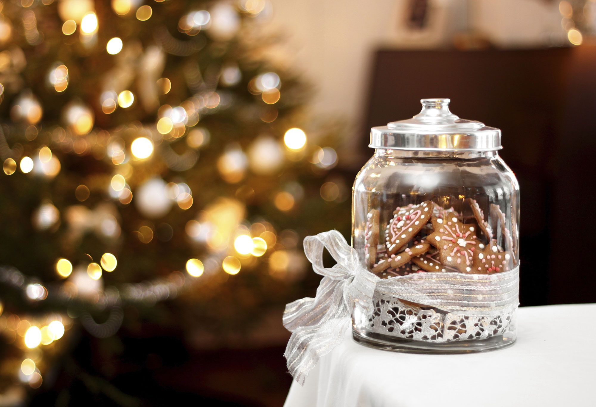 pots de biscuits de Noël