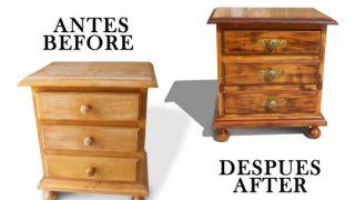Avant et après une table en bois