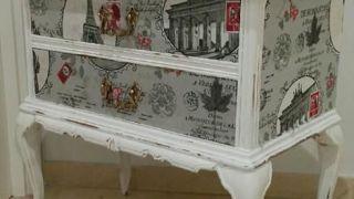 Table d'appoint restaurée de style vintage