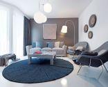 Décor de salon en bleu, gris et marron