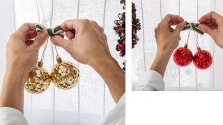 Décorez la fenêtre avec des couronnes et des bougies pour Noël - Étape 2