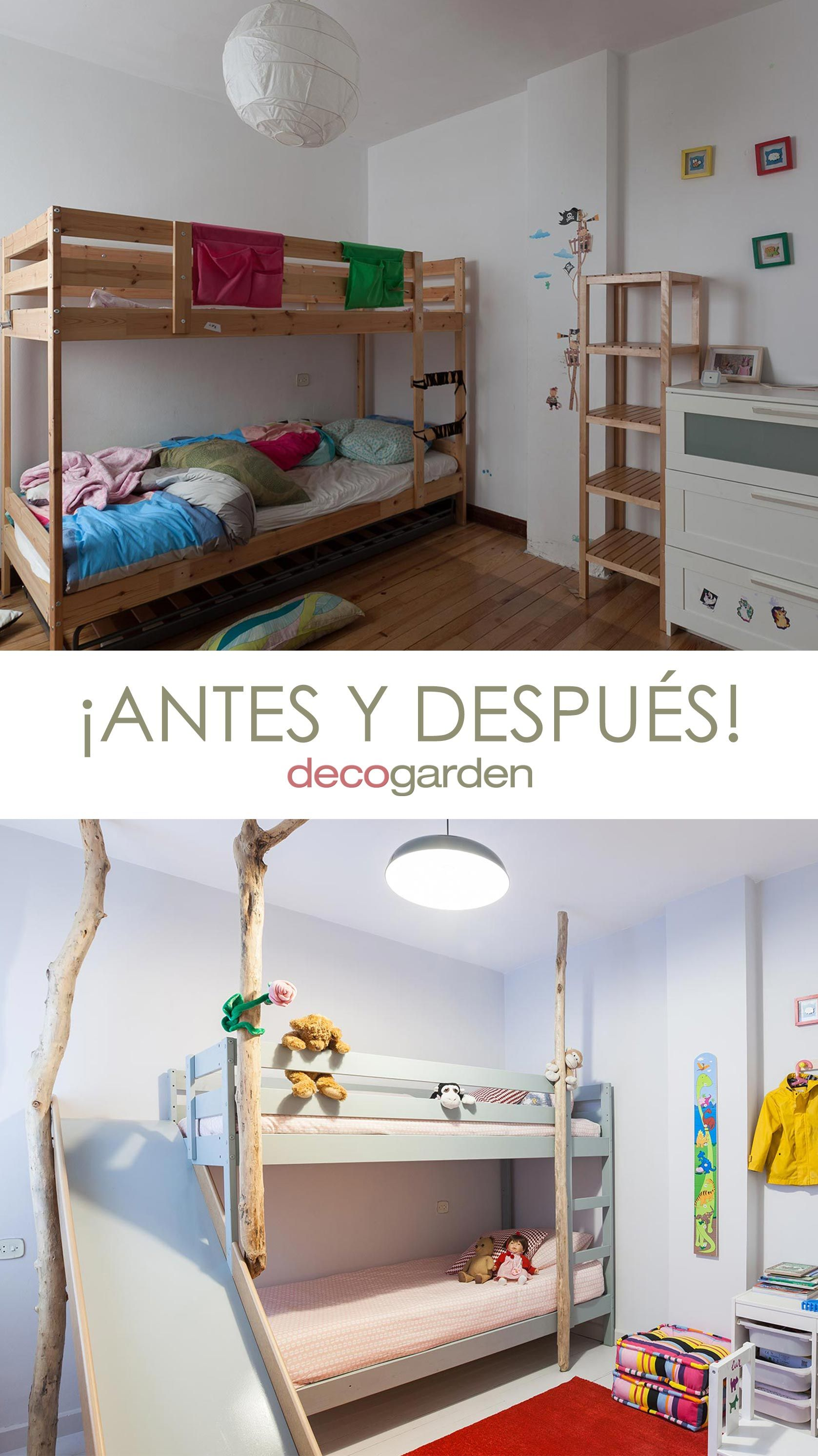 Chambre d'enfants avec lits superposés et toboggan