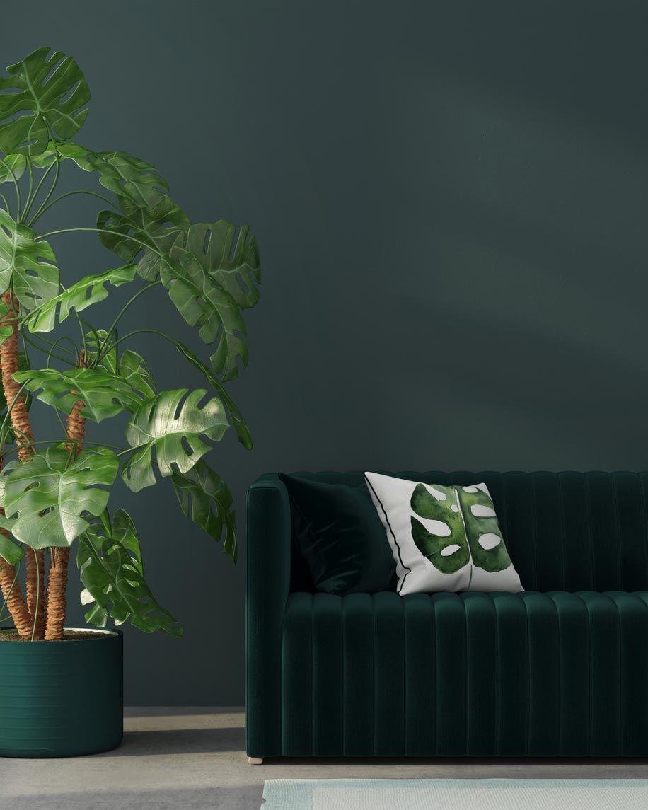 Les coussins à imprimé tropical sont un élément décoratif clé.