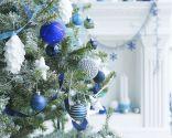 Décorations de Noël en bleu, blanc et argent
