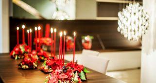 décoration de Noël classique avec poinsettia