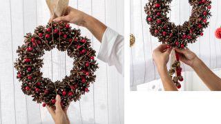 Décorez la fenêtre avec des couronnes et des bougies pour Noël - Étape 1