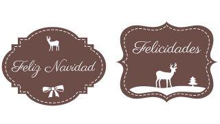 Étiquette de Noël avec dessin de renne