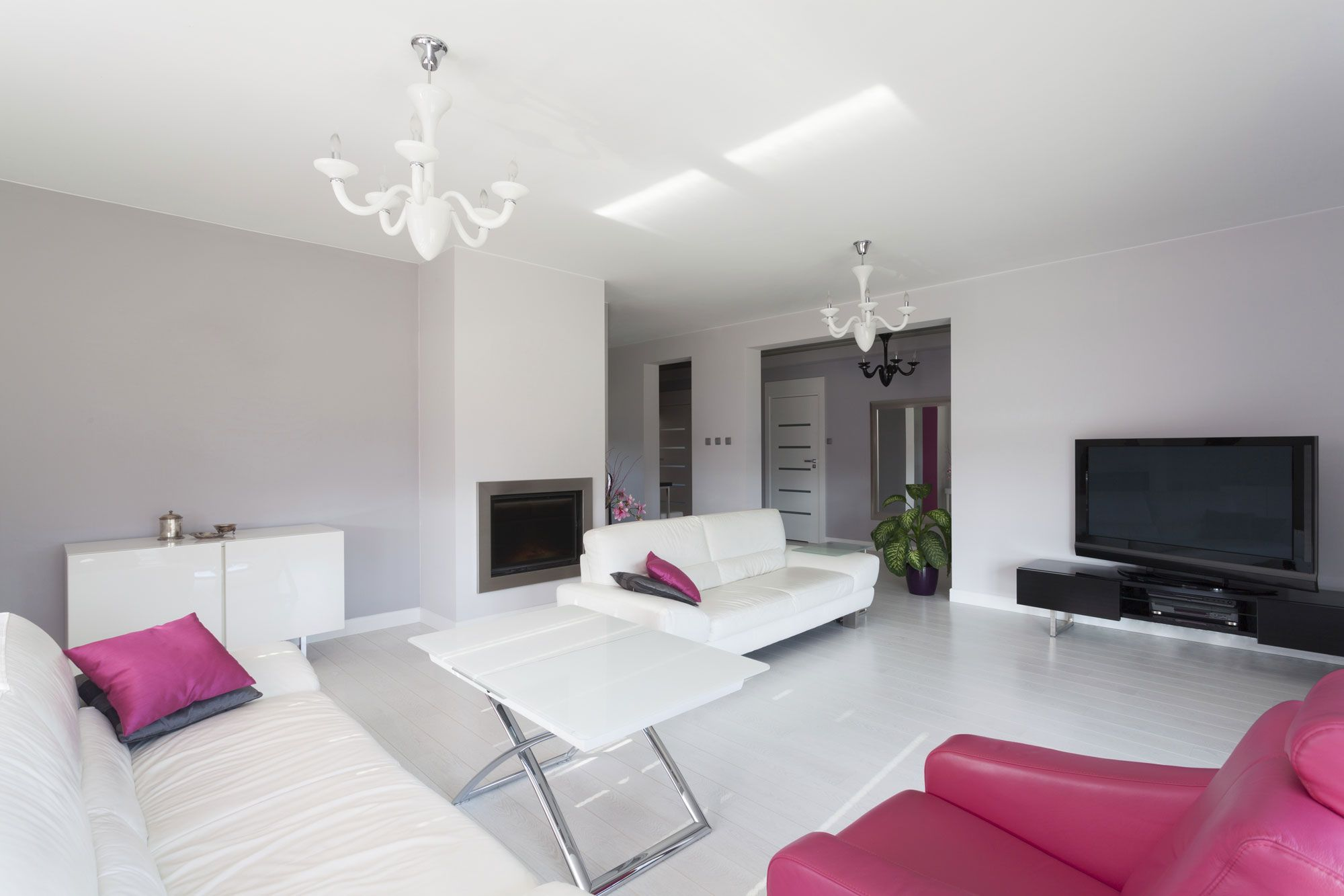 Grand salon gris et blanc