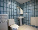 Salle de bain lumineuse dans un style classique bleu
