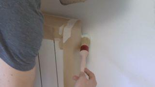 Chambre jaune avec frise en bois étape 2
