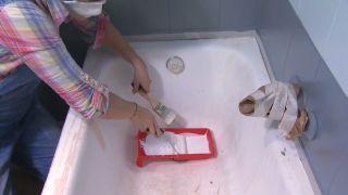 Salle de bain tricolore en gris étape 6