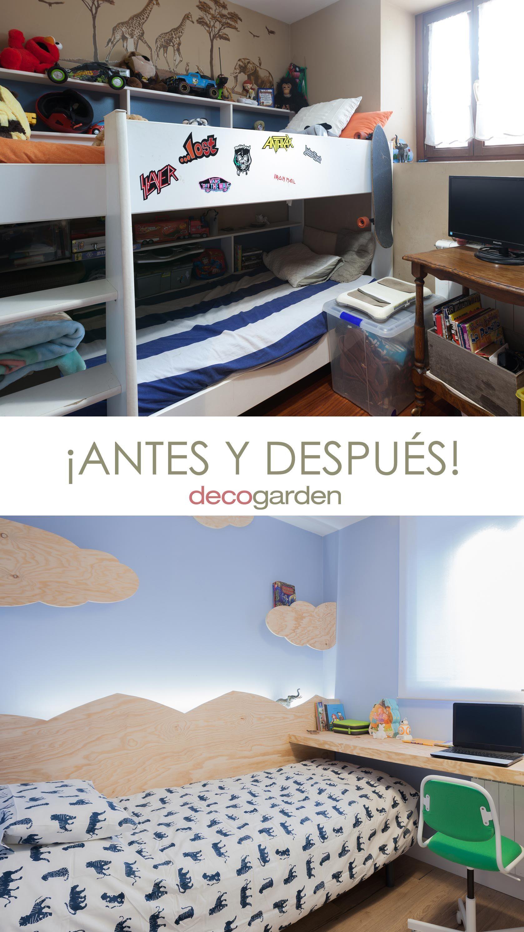 décorer une chambre d'enfants avec un bureau et une frise en bois - avant et après