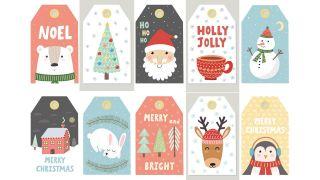 Étiquettes avec illustrations de Noël