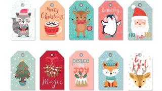 Étiquettes de Noël avec illustrations