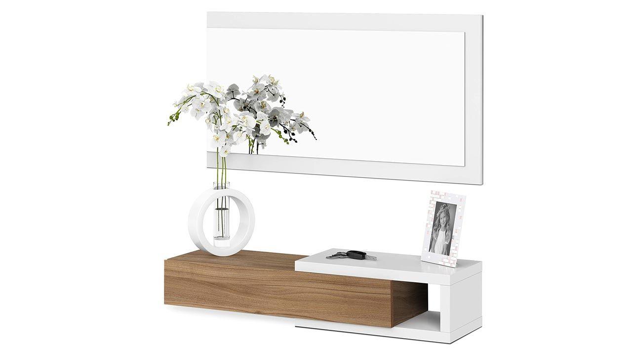 Mobilier d'entrée blanc et bois